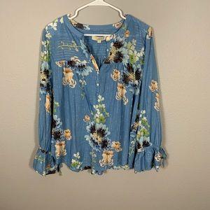 LOFT Blue Floral Peasant Style Blouse